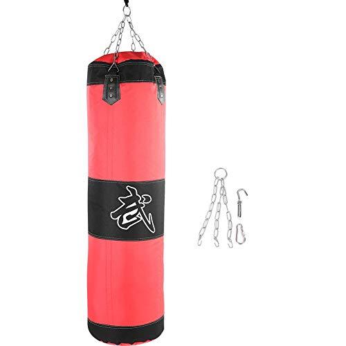 Boxsack Sandsack Kinder/Erwachsene Hängender Boxsack Punchingball Boxen Boxsack Set, Leer Sandsack MMA Kickboxing Muay Thai Boxsack Sandsack Haken Kicksack Sandsack Kampf Karate Punching Bag(1m-Rot)