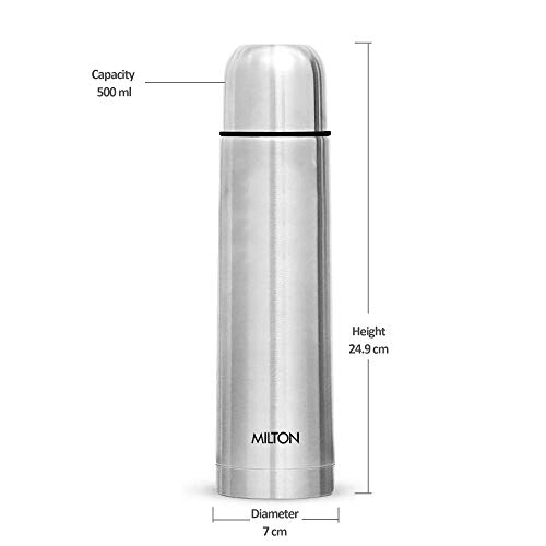 Milton Plain Lid 500 Thermosteel 24 Hours Hot and Cold Water Bottle, 1 Piece, 500 ml, Silver
