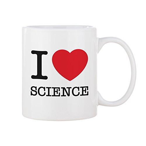 VOODOO ISLAND Tasse mug Petit-déjeuner de Porcelaine Blanche 30 cl. Modèle I Love Science