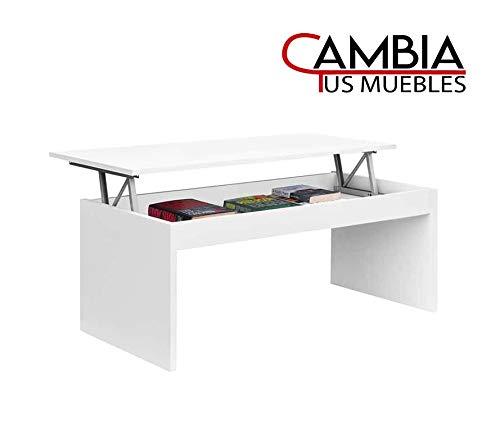 CAMBIA TUS MUEBLES - Mesa de Centro elevable para Comedor, salon Premier, Mesa Auxiliar en Color Roble o Blanco (Blanco)