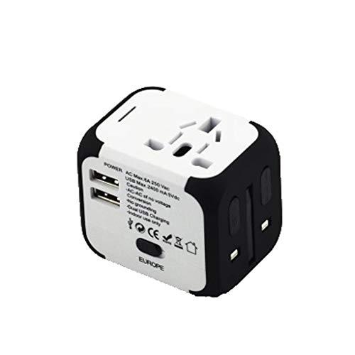 Adaptador de Viajes Internacional Adaptador de energía Universal en Todo el Mundo en uno 2 USB con Enchufe eléctrico Europeos de EE. UU, UE, Reino Unido, AU (Color : White)