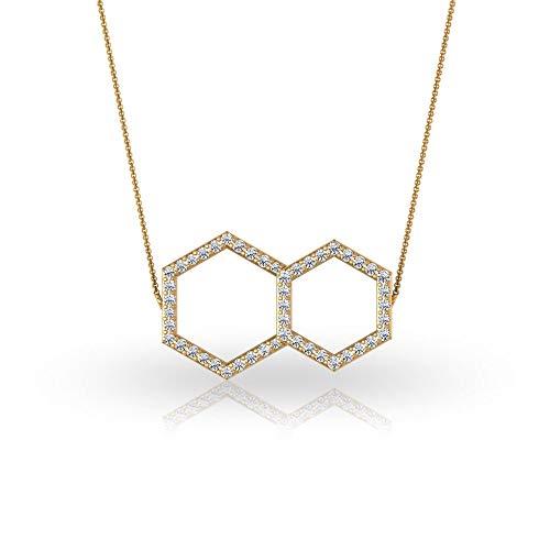 Colgante hexagonal de diamante abierto con certificado de 1/4 quilates, único grabado en oro doble geométrico, collar vintage de cadena larga ajustable, oro amarillo de 18 quilates