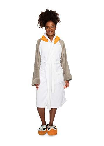 Star Wars badjas Porg voor dames, wit-grijs, geborduurd, van 100% polyester, eenheidsmaat.