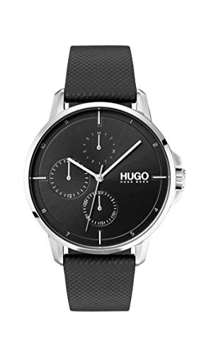 Hugo Men's #Focus Quartz Stainless Steel and Leather Strap Casual Watch, Black, 1530022