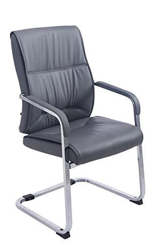 CLP XXL-Freischwinger Anubis mit Kunstlederbezug und gepolsterter Sitzfläche I Pflegeleichter Konferenzstuhl mit Armlehne, Farbe:grau