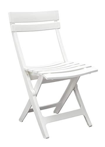 Ondis24 Gartenstuhl Klappstuhl Miami, 42 x 50 x 80 (H) cm, pflegeleicht, UV- und witterungsbeständig (Weiß)
