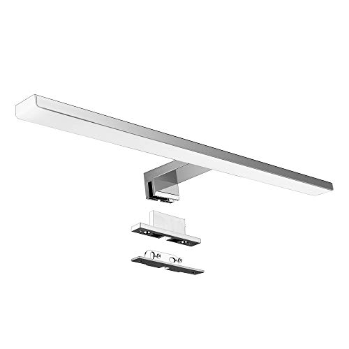LED Spiegelleuchte Bad Spiegel Lampe 10W 820lm 50cm Neutralweiß 4000K Aourow,3 in 1 spiegellampe Badezimmer/Badleuchte/IP44 230V,Nickel-Chromstahl LED Schrankleuchte,Produktlänge:500mm