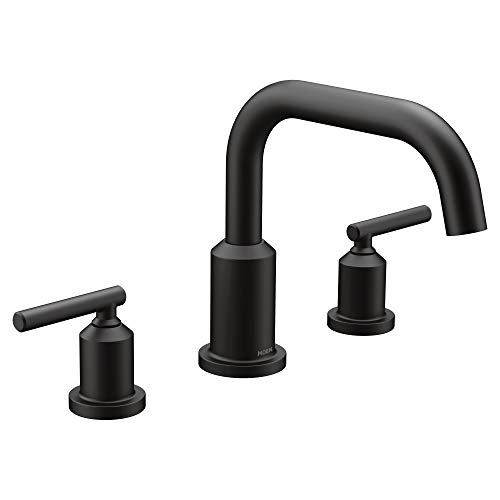 Moen T961BL Gibson Two-Handle Deck Mounted Modern Roman Tub Faucet, Valve Required, Matte Black