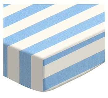 %41 OFF! SheetWorld Fitted 100% Cotton Percale Pack N Play Sheet Fits Graco 27 x 39, Blue Stripe, Made in USA