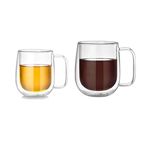Taza de café Copa de té de cristal moderna Tazas de café de la pared doble para las bebidas de la leche Tazas de café (Color : Clear1+clear2)