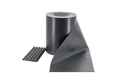 ILESTO PVC Sichtschutzstreifen für Doppelstabmatten – Sichtschutz für Ihren Gartenzaun & Doppelstabmattenzaun - 35m x 19cm inkl. 20 Clips – Anthrazit (RAL 7016)