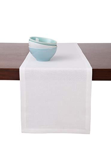 Solino Home Medium Weight Linen Table Runner - 100% Pure Linen - 14 x 48 Inch, White
