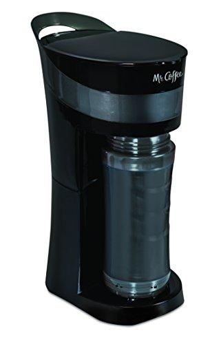 Mr. Coffee pour. Bebida. GO. 16-ounce cafetera Personal con taza de to-go aislada, Midnight negro, bvmc-mlbl, Negro, 1