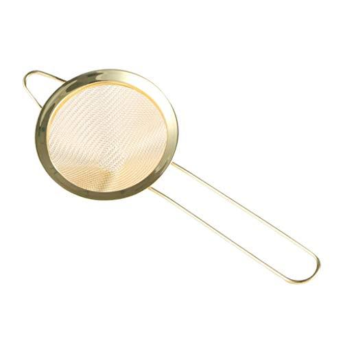 LOVIVER Fein Schaumlöffel Edelstahl Abtropfsieb Nudelsieb Küchensieb Cocktail Sieb, Durchmesser: Ca. 8,5 cm - Golden