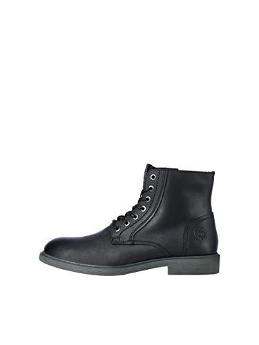 JACK & JONES JFWKARL Leather Boot Black LTN, Botas Cortas al Tobillo Hombre, Negro, 43 EU