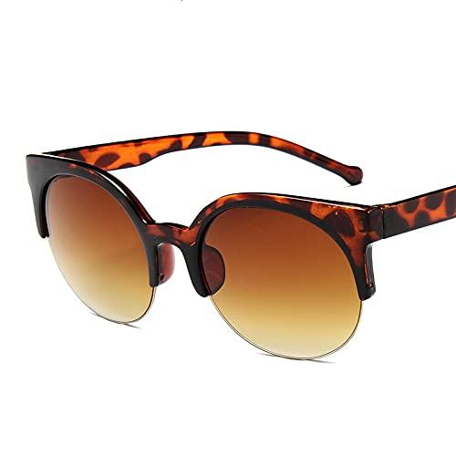 Gafas De Sol Gafas De Sol Vintage De Moda para Mujer, Gafas De Sol Redondas Semi-Interminables para Mujer, Uv400 C2Leopard