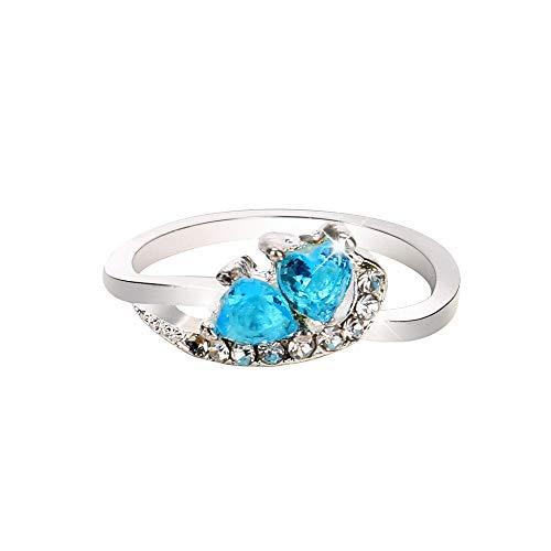 Mode Femmes Cœur Bleu Blanc Pierre Précieuse Bague En Argent Bijoux Fantaisie, Bague En Cristal Avec Double Coeur En Zircon 6,7,8,9,10