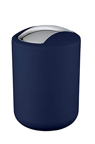 Wenko Kosmetikeimer Brasil S 2 Liter, Badezimmer-Mülleimer mit Schwingdeckel, kleiner Abfalleimer aus bruchsicherem Kunststoff, Ø 14 x 21 cm, dunkelblau