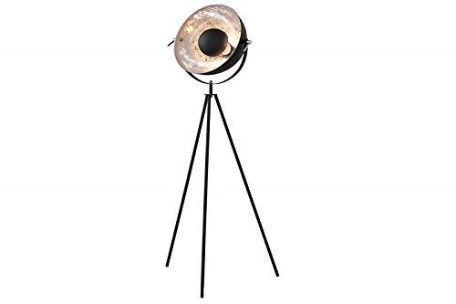 DuNord Design Stehlampe Stehleuchte CINEMA 140cm schwarz / silber Retro Design Lampe Spotlampe