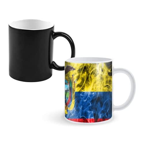 Taza que cambia de color Taza de café mágica,ecuador smoke flag,tazas grandes personalizadas Taza de decoloración 11 onzas