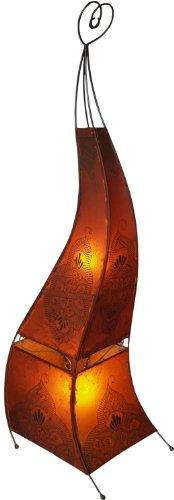 Guru-Shop Henna Lamp, Lederen Vloerlamp/vloerlamp - Mauretania 160 cm, Oranje, Kleur: Oranje, Oosterse Tafellampen