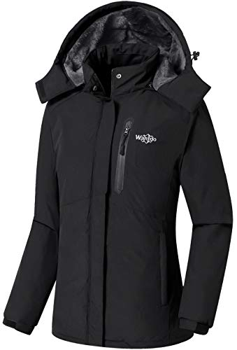 Wantdo Women's Warm Winter Puffer Coats Waterproof Ski Jacket Black, X-Large