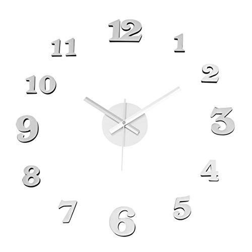Reloj de Pared Adhesivo de Polipropileno Plateado Moderno para salón Vitta -...