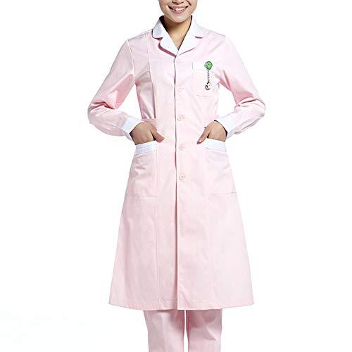 Medizinische Kleidung Krankenhaus-Arbeitskleidung Laborkittel Uniform Weiß mit langen Ärmeln Anzug Rundhals Medizinische Kleidung Mit 3 Taschen,Rosa,XL