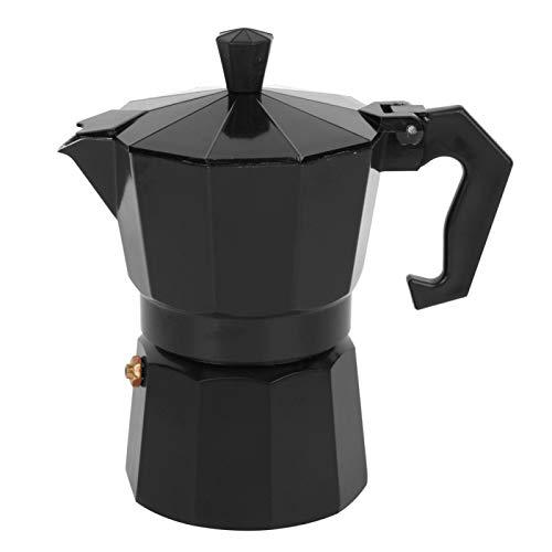 150ml Kaffeekanne Espressokocher Aluminium für 3 Tassen Moka Kaffeekanne Premium Herd Espressomaschine für das Home Office(Schwarz)