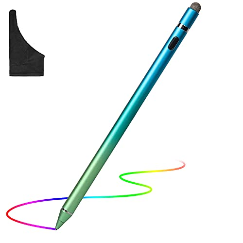Stylus Pen for Touch Screens, Active Digital Pens Rechargeable 1.5mm Fine Tips Smart Pencil Compatible with iPad iPhone and Most Tablet with Glove by OOCLCURFUL (Blue+Light Green)