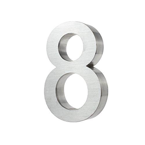 KOBERT GOODS Hochwertig Modern Gebürstet Edelstahl V2A Hausnummer 8 klassisch 3D-Effekt Design Wetterfest und Rostfrei inklusive Montage-Material Höhe 20cm Tiefe 3cm Groß für Haus und Gartenzaun