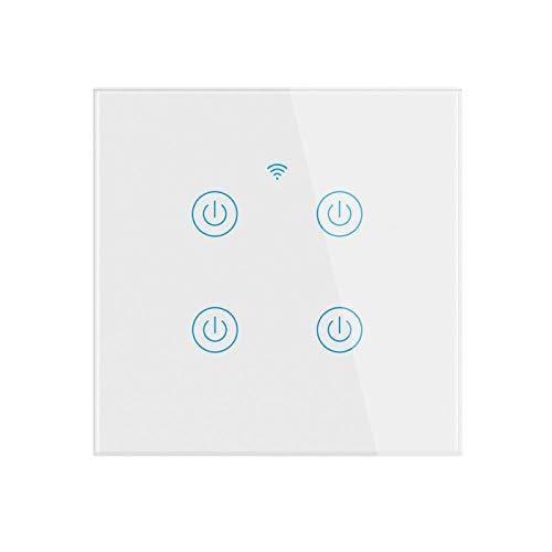 Interruptor inteligente, interruptor de luz de banda WiFi 1/2/3/4, interruptor de luz inteligente, compatible con Alexa y Google Home, función de sincronización, no se requiere neutral