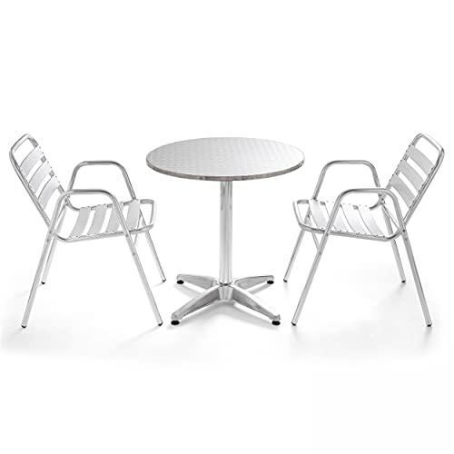 Oviala Table de Jardin Gris Rond 70 x 70 cm Aluminium 2 Places Camden