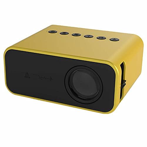 Proyector Mini proyector de vídeo, 1080P Full HD compatible, pantalla LCD de 100 pulgadas HDMI, USB, VGA, AV, micro SD altavoces duales 20000 horas proyector para el hogar (amarillo)