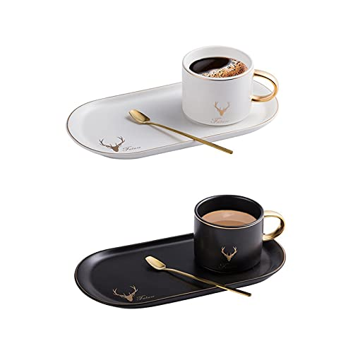 Ceramics Mug Set Coffee Cups, Nordic Style Tea Cups and Saucers Set, Breakfast Mugs Dessert Plate for Home Office Party, Vintage Ceramics Espresso Cups with Gift Box (Black+White)
