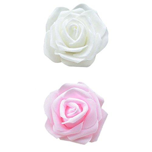 D DOLITY 100x Schaumrosen Kunstblumen Rosenköpfe Foamrosen DIY Blumenstrauß - Creme + Rosa
