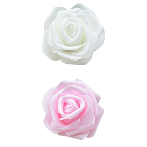 SunniMix 100 Stücke Schaum Rose Köpfe Künstliche Blume Brautstrauß Hochzeit Home Decor - Creme + Rosa