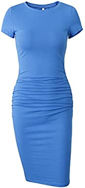 Missufe Women's Short Sleeve Ruched Casual Sundress Midi Bodycon T Shirt Dress