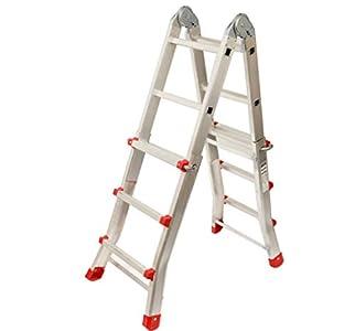 Escalera Articulada Telescópica Plegable 3+2 en 2 Tramos Profesional de Aluminio. Escada Articulada Telescópica Dobrável de Alumínio (Hasta 10 Peldaños/Até 10 degraus)