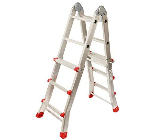 Escalera Articulada Telescópica Plegable 3+2 en 2 Tramos Profesional de Aluminio. Escada...
