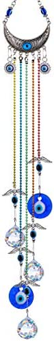 YU FENG 20inch Blue Evil Eye Hanging Crystals Suncatcher Ornament with Chakra Energy Crystal product image