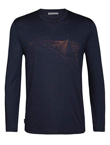 Icebreaker Spector LS Crewe Peak in Reach Merino - Camiseta para Hombre, Unzutreffend, otoño/Invierno, Spector LS Crewe Peak in Reach Merino - Camiseta, Hombre, Color Azul Marino, tamaño Small