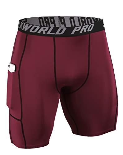 SILKWORLD Men's Compression Shorts Pockets Sports Running Tight (Large, 0788-Pockets: FireBrick Red)