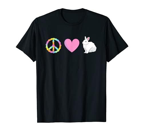 ピースラブイースターピースサインバニーハートヒッピーギフト Tシャツ