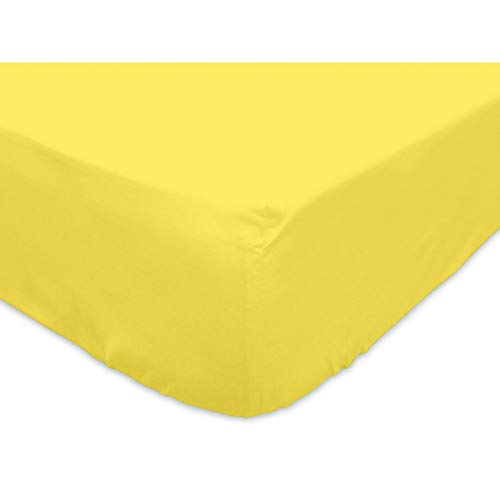 Soleil d'ocre Lenzuolo con Angoli 90 x 190 cm in Cotone Tinta Unita Giallo