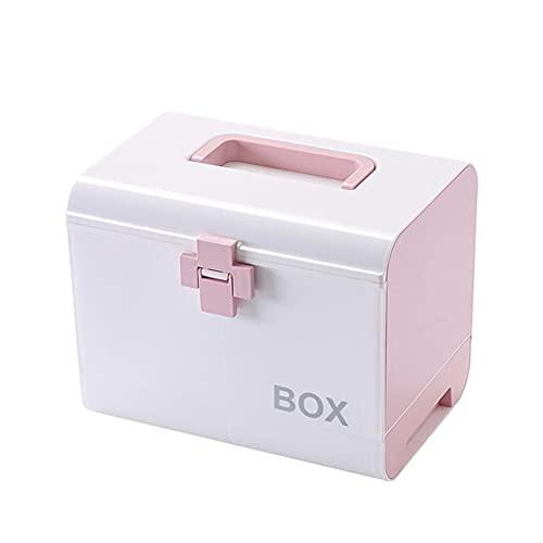 LYHD Home Medizin Box Kunststoff Medizin Blau Box Lagerung mit Mantel Party Multi Erste-Hilfe-Kit Große Kapazität Zubehör Haus & Garten,Rosa