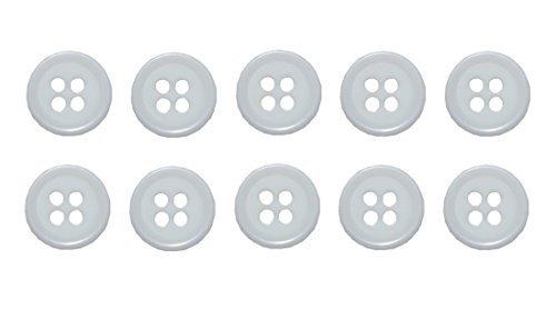 B2Q Knopf Knöpfe 10mm 4 Loch weiß 10 Stück (0069)