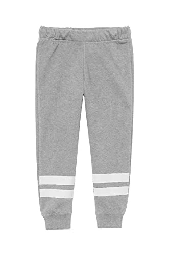 Batermoon Girl's Striped Sweatpants Elastic Waist Casual Joggers Kids Active Athletic Pants Grey