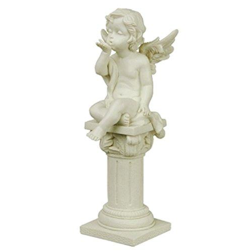 A.G.S. Gartenfigur Engel auf Säule Gartendekoration Grabengel Garten Dekoration Engelchen Cherubin