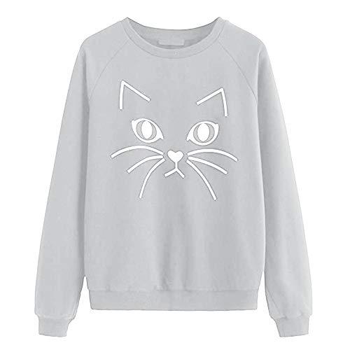 Frauen Pullover mit rundem Kragen und Katzendruck Loose Pullover T-Shirt